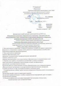 Финансово-хозяйственная деятельность на 2015 г.